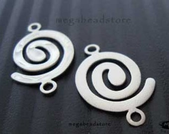 2 pcs 925 Sterling Silver Pendant Earring Connectors Matte Finished  F308