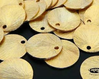20 pcs 9mm Vermeil Gold Disc Charms Brushed Disc Top Drill Hole F163V