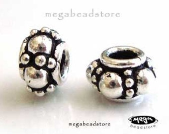 6 pcs 7mm Bali Sterling Silver Spacer Beads Oxidized B269