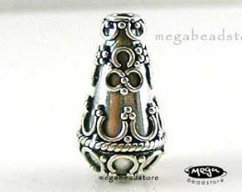 2 pcs Tear Drop Bali Sterling Silver Handmade Water Drop Beads B62