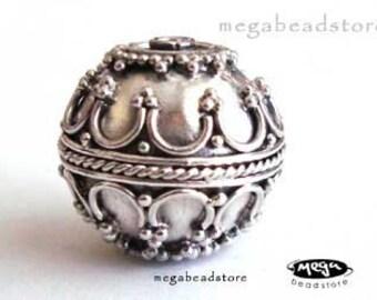 15mm Bali Sterling Silver Bead Handmade Focal Bead 15mm B271 - 1 pc