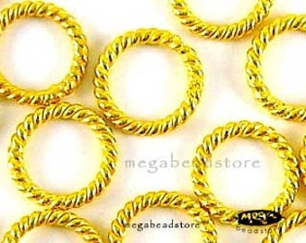25 pcs Vermeil Gold Jump Rings 7mm Closed  Soldered Wire Twist Rings F05V
