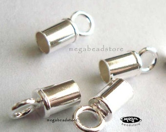 10 pcs 3mm 925 Sterling Silver End Cap for Leather Tip Beads F142