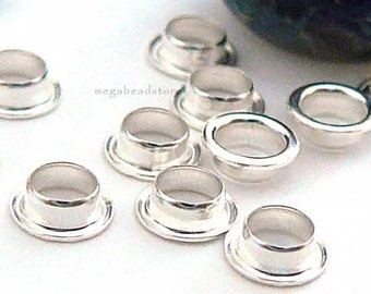 50 pcs 2.7mm Hole 925 Sterling Silver Grommet Eyelet Rivets Lampwork Bead Caps F238-3