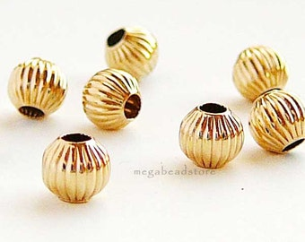 10 pcs 4mm Gold Filled Corrugated Beads Spacers B39GFC