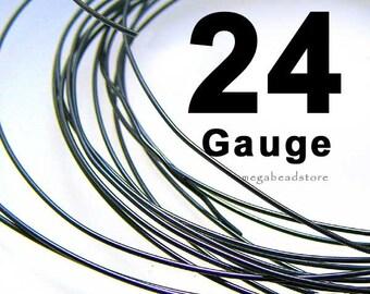 10 feet 24 Gauge Oxidized Rustic Black Sterling Silver Wire