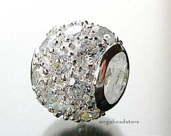 10mm CZ Paved Bead Pendant 925 Sterling Silver Charm Fit 3mm Bracelet B154- 1 pc