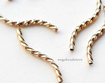 10 pcs 20mm 14K Gold Filled Twisted Square S Tube Beads F356GF