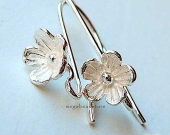 6 pcs Flower Ear Wires 925 Sterling Silver Bright Silver Earring Hook F133B