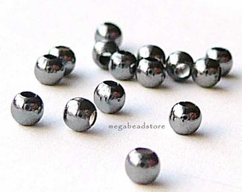 200 pcs 2mm Patina Oxidized Sterling Silver Beads Seamless Spacers B39Z