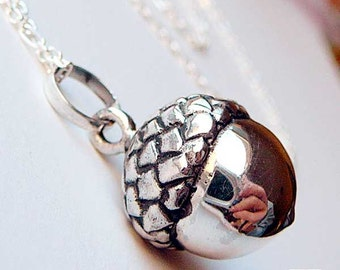 Acorn Baby Chime Necklace Mexican Bola Harmony Ball 36 inches Chain 925 Sterling Silver P69CH67