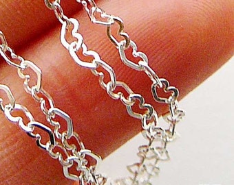 9 feet 3mm Flat Heart Link Loose Chain 925 Sterling Silver Chain Ch66