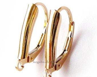 Sturdy Leverback 14K Gold Filled Ear Wire Earring Findings F368GF- 1 pr