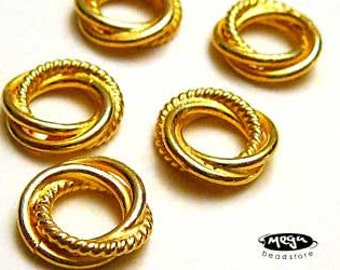 5 pcs 10mm Infinity Spacers Large Hole Fit 3mm Bracelet  VERMEIL Gold Beads S35V