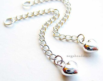 10 pcs 2 in. 925 Sterling Silver Puff Heart Extender Chains F240