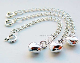 5 pcs 2.5 in Extender Chain  925 Sterling Silver Puff Heart with Clasp F371