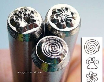Fun Stuff - Metal Stamping Punch Tool- Spiral -Paw- Pin Wheel
