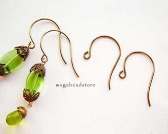 20 pcs Vintage Round Loop Ear Wires Natural Brass Vintaj BRF2