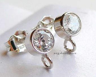 10 Pairs 4mm CZ 925 Sterling Silver Earring Post Bezel Ear Posts Earrings F196