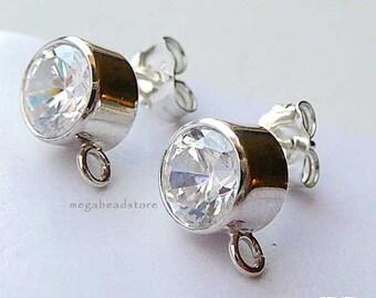 1 Pair 6mm CZ 925 Sterling Silver Earring Post Bezel Ear Posts Earrings F196