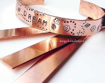 "Cuff Bracelet Blanks 1/2"" x 6"" Copper 16 Gauge Stamping Blanks BLCB16- 3 pcs"