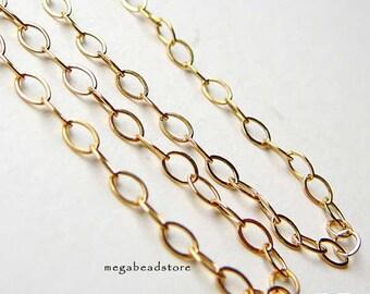 5 feet 3mm Flat 14K Gold Filled Chain Flatten Rings 3.2mm x 2.1mm CH20