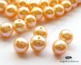 "67 pcs  (16"" Strand) 6mm Peach Fresh Water Pearls Almost Round Shape FWP6"