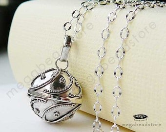 Pregnancy Necklace Mexican Bola 16mm Harmony Ball 36 inches Chain 925 Sterling Silver P47CH67
