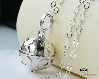 Baby Chime Necklace 16mm Mexican Bola Harmony Ball Moon and Star 36 inches Chain 925 Sterling Silver P51CH67