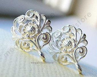 10 Pairs Filigreee Flower Earring Post Bright 925 Sterling Silver Earrings w/ Backings F338B