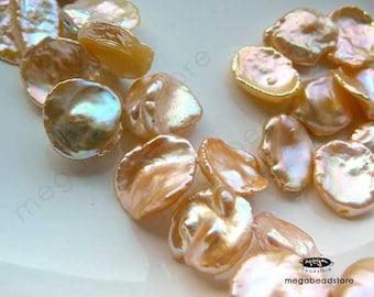 13 pcs Keshi Pearls 14mm Light Peach Cream Organic Curve Cup Shape FWP15