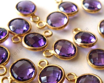 6 pcs 6mm Gold Bezel Purple Amethyst Hydro Gemstone Charm F383