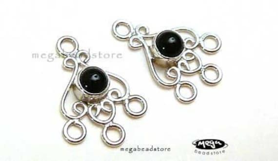 Black Onyx Gem Stone Chandelier Earring  Connector Sterling Silver F181- 2 pcs