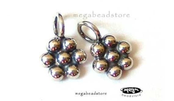 18 pcs Flower Drop Dangle Bali Sterling Silver Charms Oxidized F03