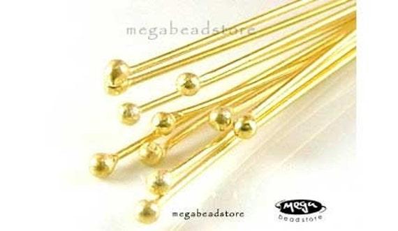10 pcs 27 Guage Single Dot Head pins Vermeil Gold Gem Stone Headpins F08V