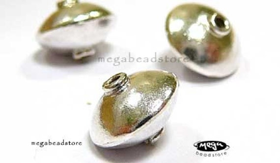11mm Saucer Beads Bali 925 Sterling Silver B249- 3 pcs