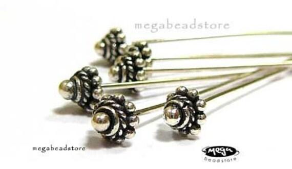 10 pcs 22 Gauge Patina Head Pins Bali 925 Sterling Silver F242