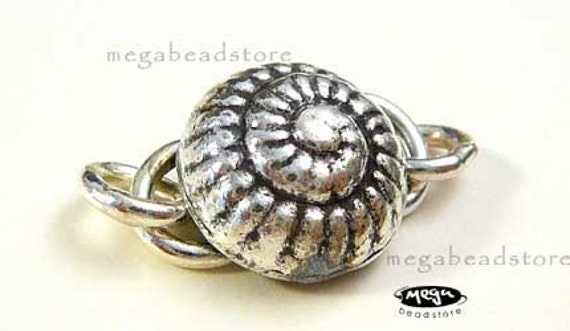 14mm Seashell Clasp  925 Sterling Silver Karen Hill Tribe Thai S-Clasp KT7- 1 set