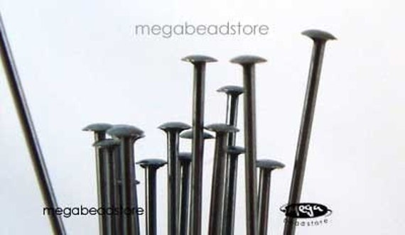 25 pcs Patina Dark Oxidized Sterling Silver Head Pins 24 gauge, 2 inches F42Z