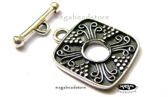 Antique Square Toggle Bali 925 Sterling Silver Handmade Clasp T67-S - 1 Set