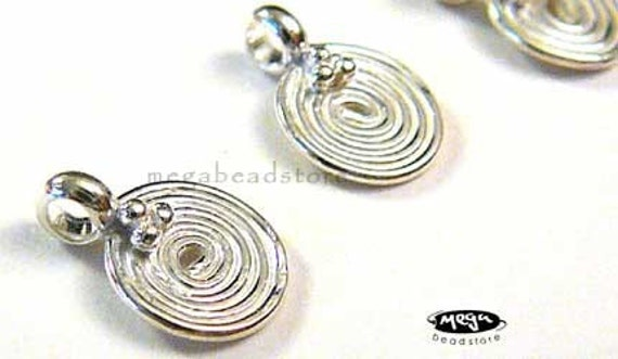 Spiral Charms Bright 925 Sterling Silver Swril Tag Charm Dangles F170- 2 pcs