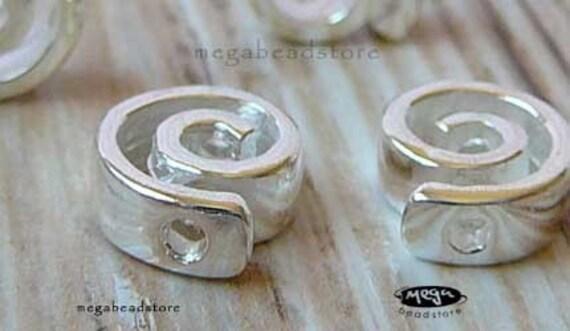 3 pcs 9mm Spiral Beads Bright Sterling Silver 925 Swirls Beads B254-S
