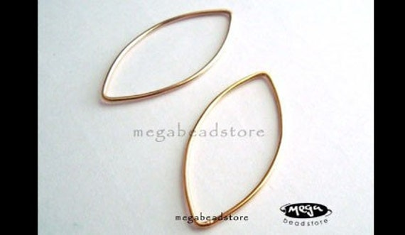 2 pcs 45mm Large Gold Filled Rings Oval Marquise Shape Closed F307GF