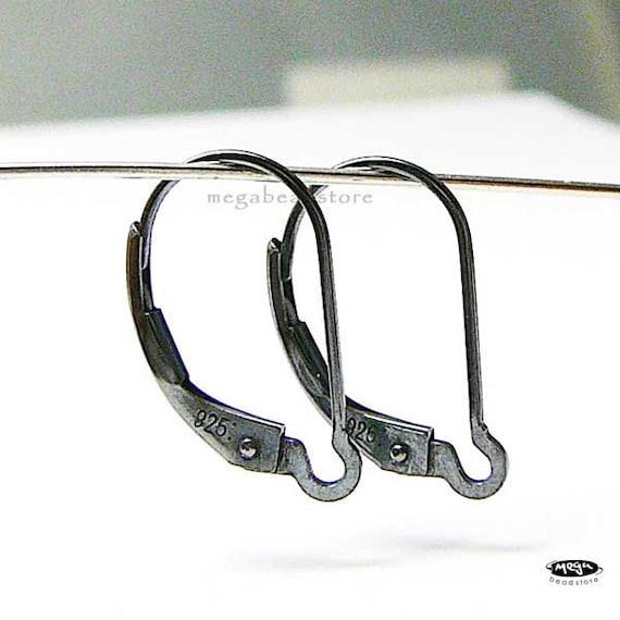 10 pcs Rustic Oxidized Leverback  925 Sterling Silver Ear Wire Interchangeable F135Z