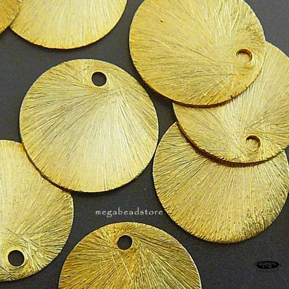 20 pcs 14mm Vermeil Gold Brushed Disc Coin Top Drill Hole F163V