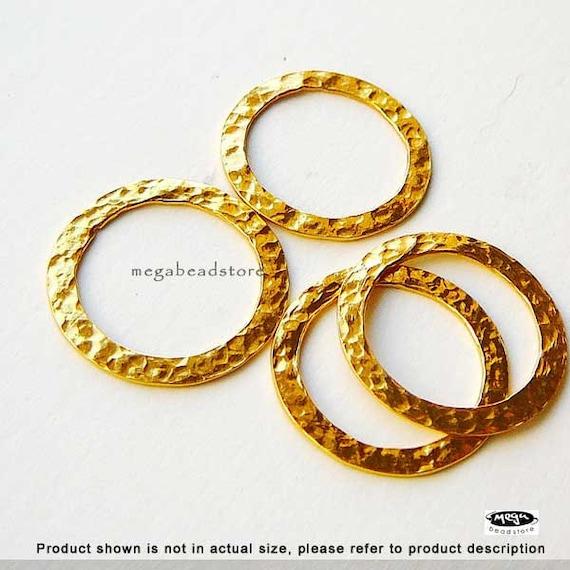 3 pcs 20mm Hammered Ring Vermeil Gold Round Jump Ring F347V