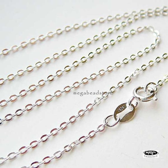 2 pcs 18 in. 925 Sterling Silver Flat Cable Chain Necklace 2mm FC20