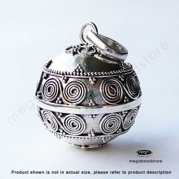 Large 22mm Harmony Ball (Mexican Bola) Bali 925 Sterling Silver Pendant Necklace P39