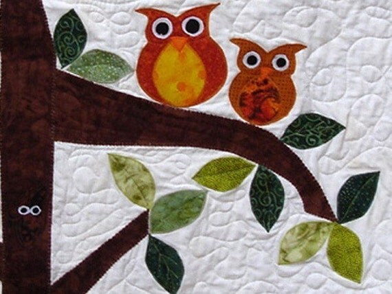 Owl Baby Quilt - Owl Watch Over You - Baby/Child Quilt/Wall Hanging - Made to Order