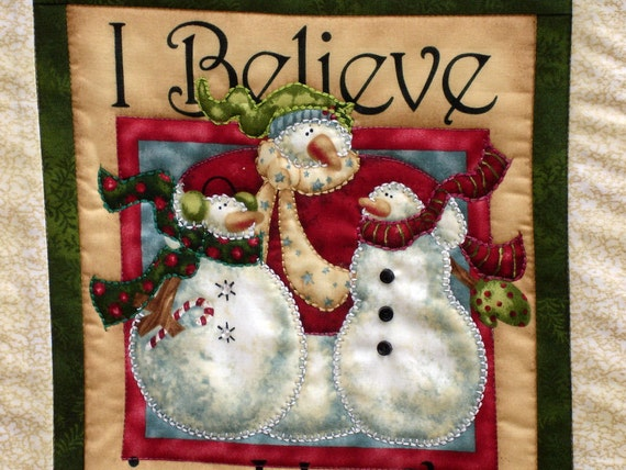 I Believe In Hugs - Quilted Wall Hanging - Snowmen